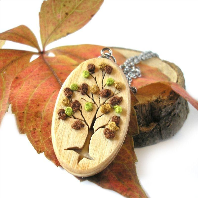 Őszi fa nemesacél nyaklánc natúr