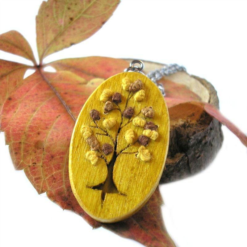 Őszi fa nemesacél nyaklánc sárga