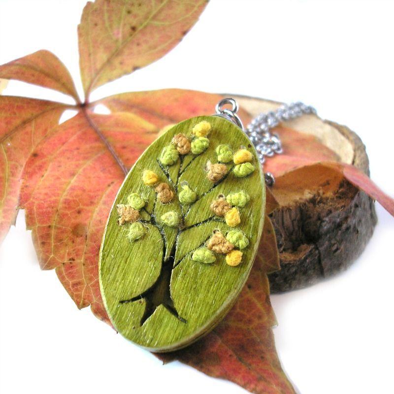 Őszi fa nemesacél nyaklánc lime zöld