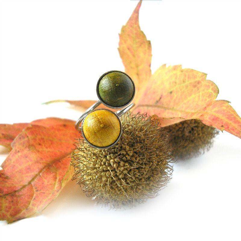 Dupla nemesacél gyűrű sárga és lime zöld