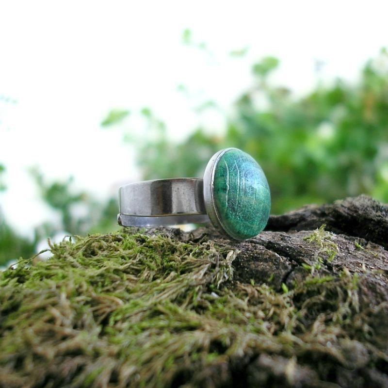 Egyke nemesacél gyűrű sötétzöld