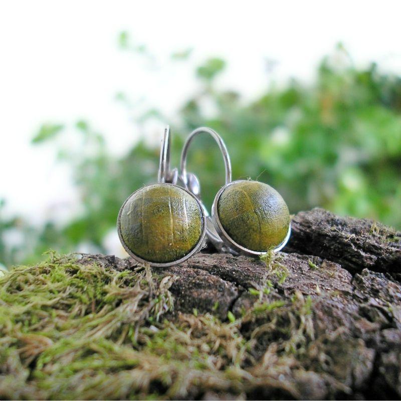 Fa nemesacél francia kapcsos fülbevaló lime zöld