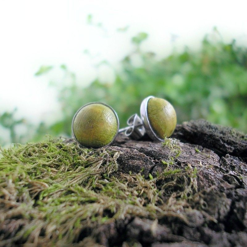 Fa pötty nemesacél fülbevaló lime zöld