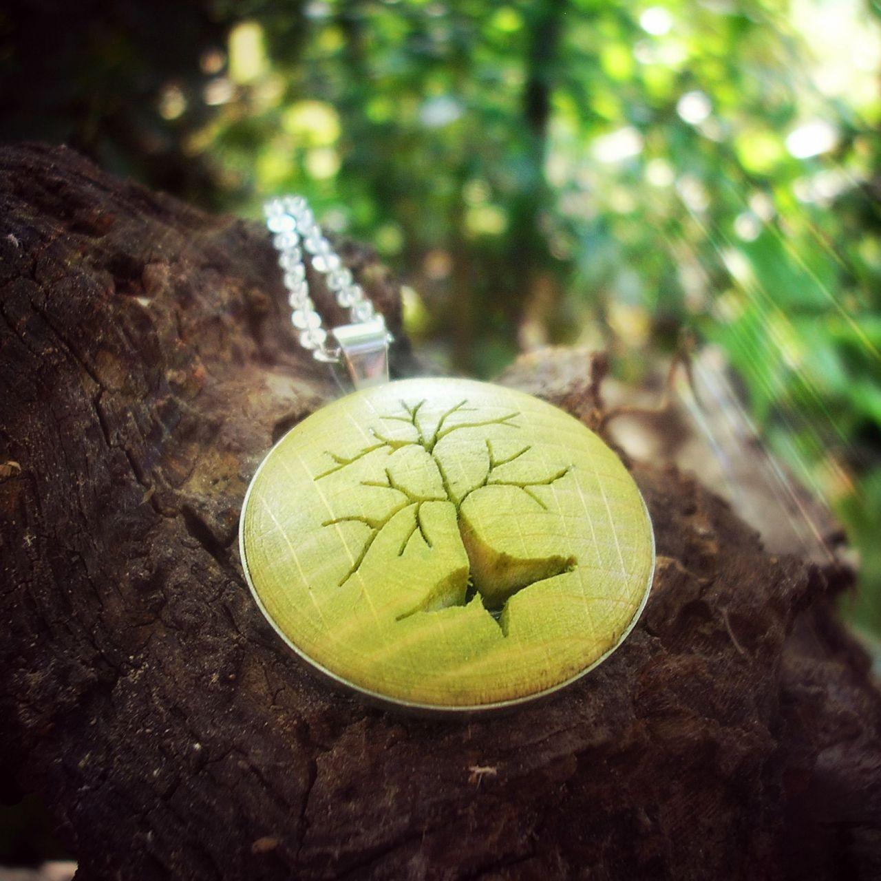 Életfa nyaklánc lime zöld