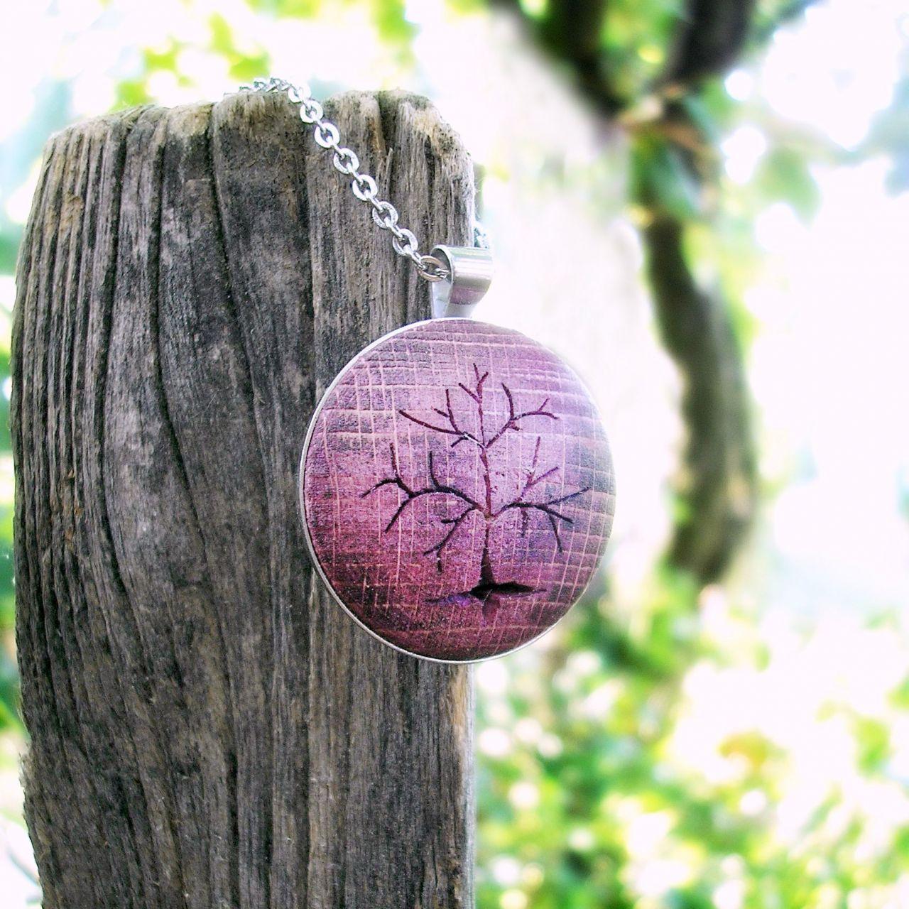 Életfa nyaklánc lila