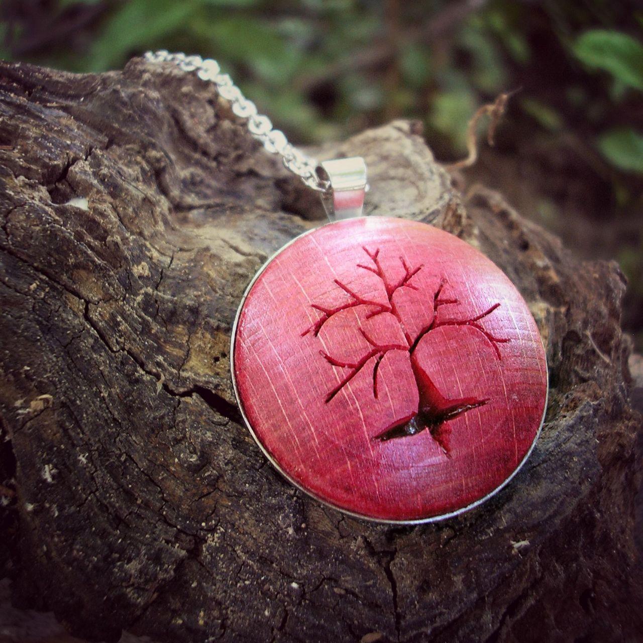 Életfa nyaklánc piros