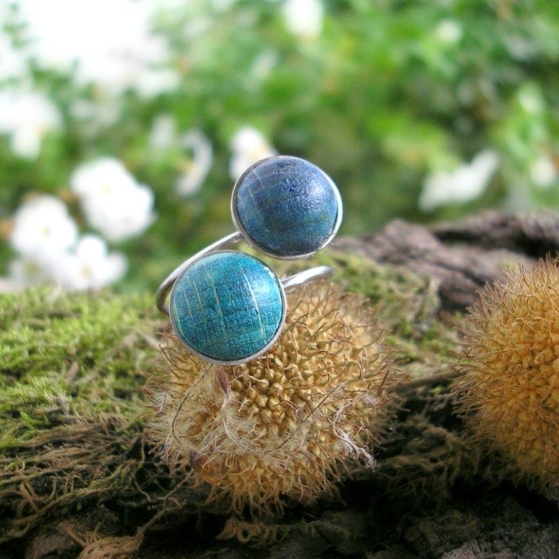 Dupla nemesacél gyűrű kék