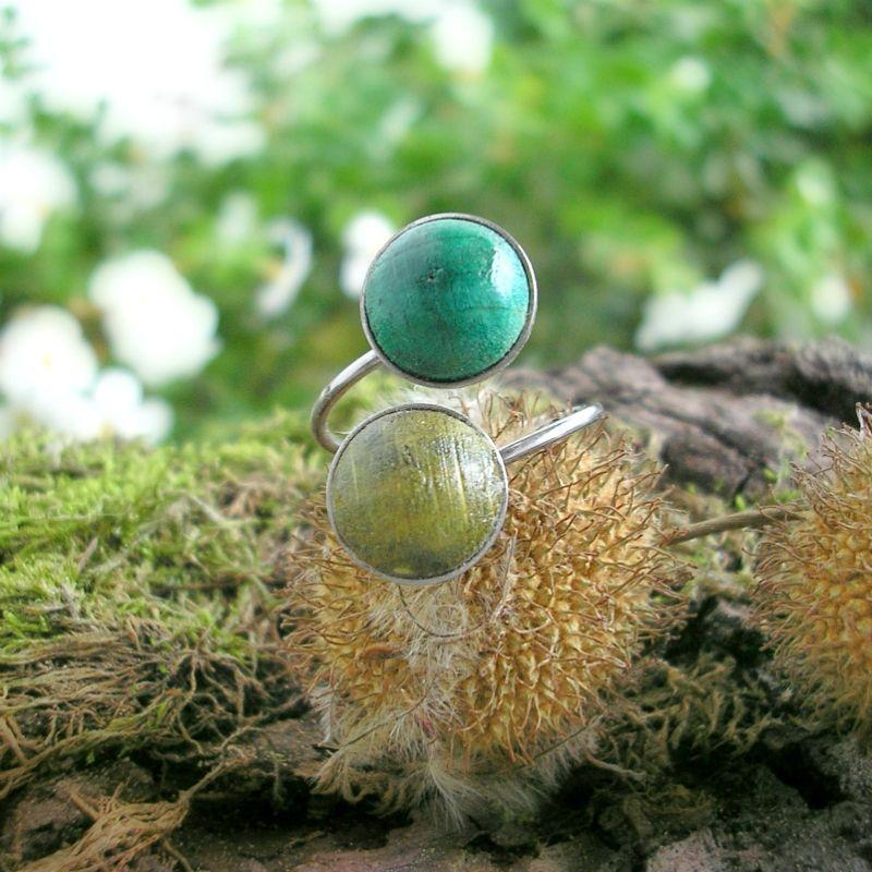 Dupla nemesacél gyűrű zöld