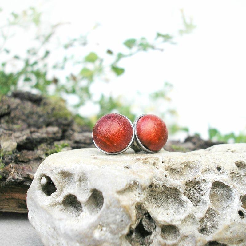 Mini Fa pötty nemesacél fülbevaló piros